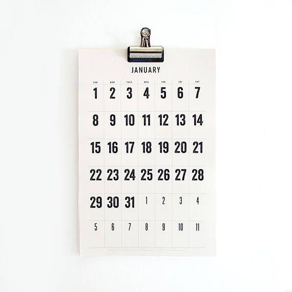 2019 2020 Wall Calendar Minimal Typographic Large Dates