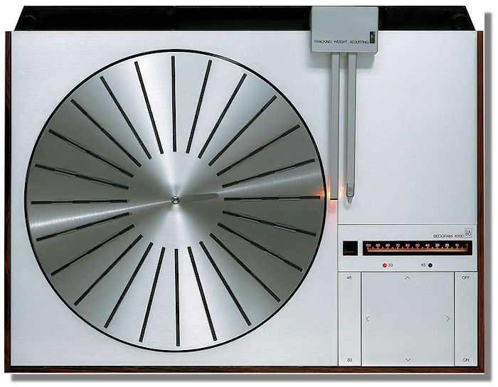 BEOGRAM 4000    The simplicity and elegance of this turntable is amazing.  It is designed by the 80's mastermind Jacob Jensen