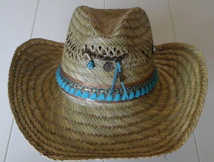 Ibiza stro hoed camel en turquoise