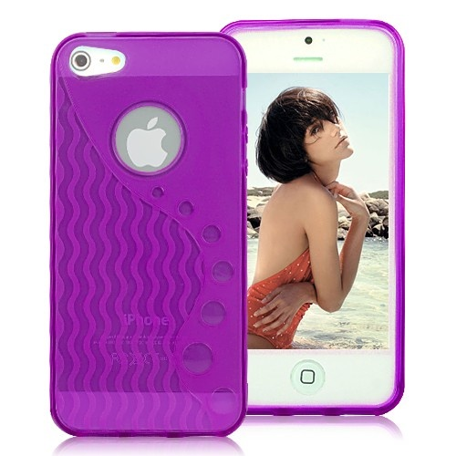 Stylish Wave-like Pattern Matte TPU Case For iPhone 5 - Transparent Purple