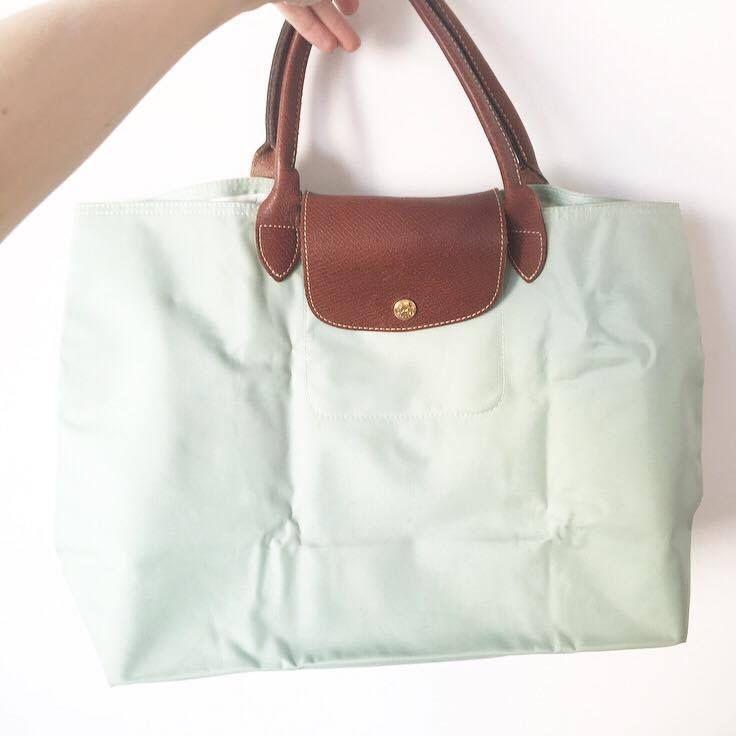 Sac Longchamp pliage Taille Cabas vert d'eau via Chloe