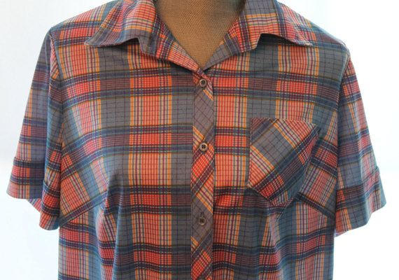 Vintage Ladies Plaid Shirt  Vintage Button Down by FunkieFrocks. FunkieFrocks on etsy. Coupon code SPRING17 for 20% off.