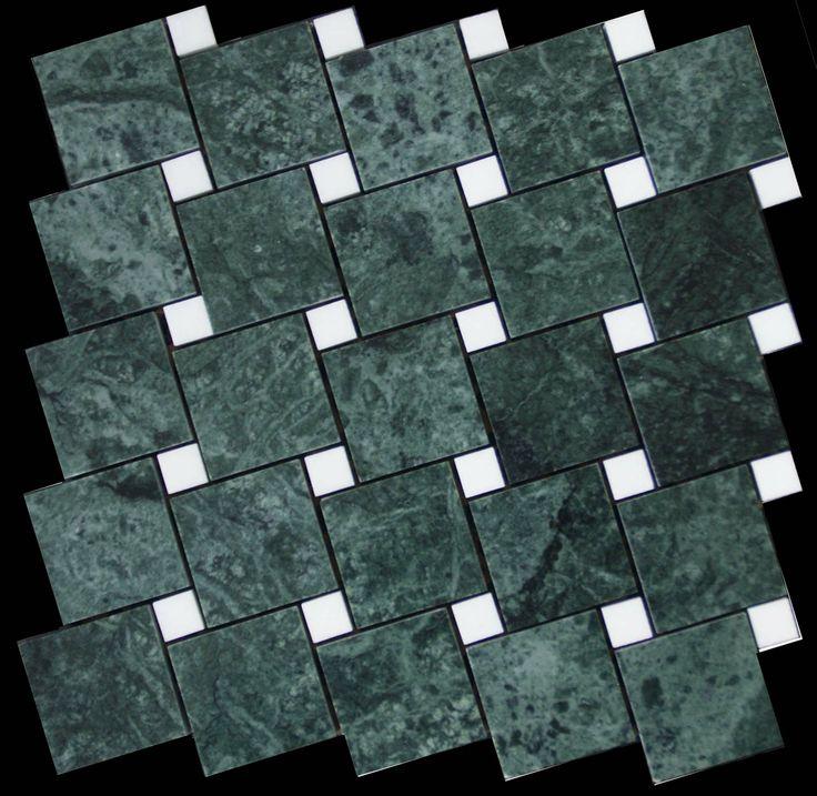 Mozaika marmurowa -  Kolekcja: Tetra 5015 Wave; Kod: TW501510; Wykończenie: POLER; Materiał: Verde Guatemala, Thassos Snow White; Wym. Kostki: 5,0x5,0 cm, 1,5x1,5 cm; Wym. Plastra:  28,7x28,7 cm