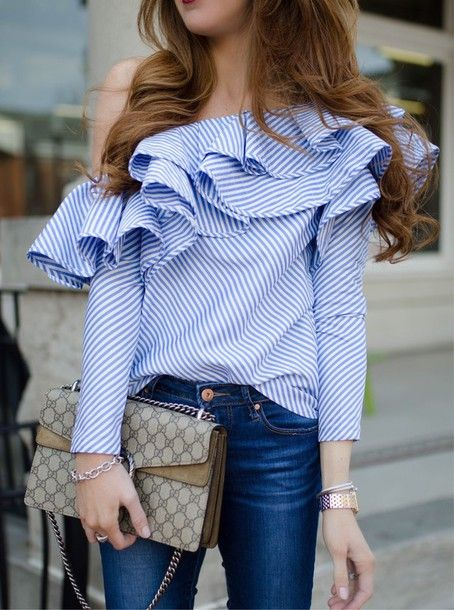 Blouse: tumblr blue blue top striped top stripes ruffle ruffled top off the shoulder off the