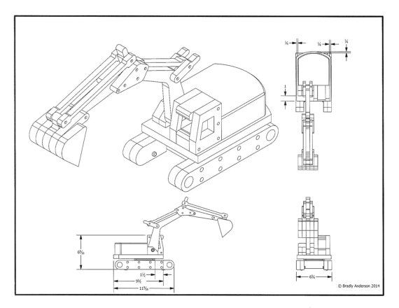 "Great little project that actually digs and scoops. The excavator works well with the dump truck. All parts move and the plan does require a 4"" lazy susan bearing. The excavator measures about 11 ½"" long and has a reach of over a foot. It is constructed from all ¾"" thick lumber. Purchase is the plan only. All drawings will print on standard 8.5x11 paper.  If you are interested in purchasing this as a built toy please message me for price and lead time. I do try to customize individual toys…"