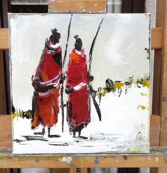 Les Massais Iii Peinture A L Huile Au Couteau Sur Chassis