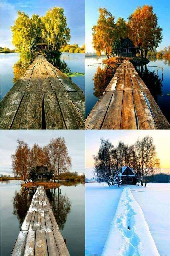 фото одного места в разные времена года