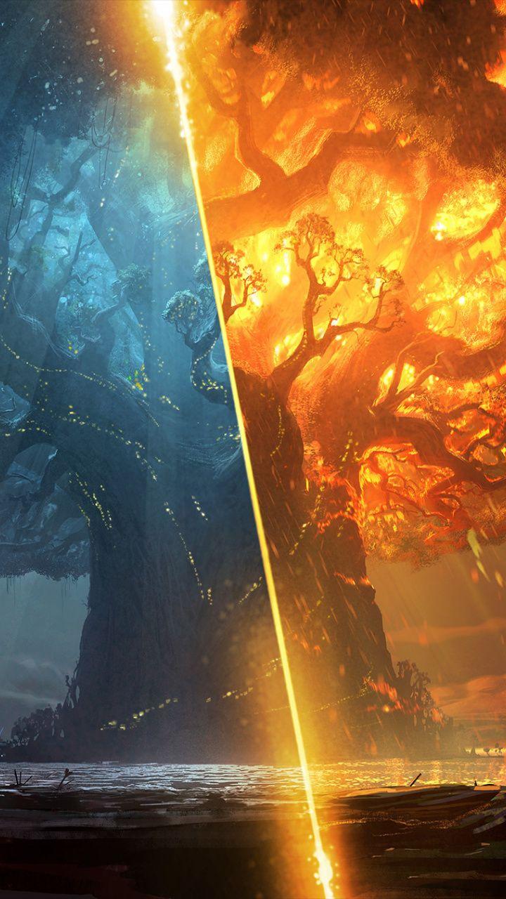 World Of Warcraft Battle For Azeroth Online Game Big Tree 720x1280 Wallpaper World Of Warcraft Wallpaper Fantasy Landscape World Of Warcraft