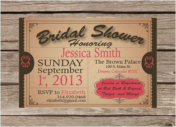 Pretty Rustic  Bridal Shower Invitations by ShopHoneyLoveDesigns, $15.00