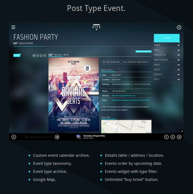 Buy Link: http://themeforest.net/item/vice-music-dj-and-music-band-wordpress-theme/10067870 #webdesign #WordPress #dj #musician #theme #music #musicdesign