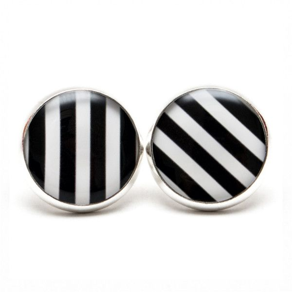 Black and White Striped Earrings Black and White Jewelry Striped... ($8) ❤ liked on Polyvore featuring jewelry, earrings, black and white jewelry, post earrings, zebra earrings, black white earrings and stud earrings