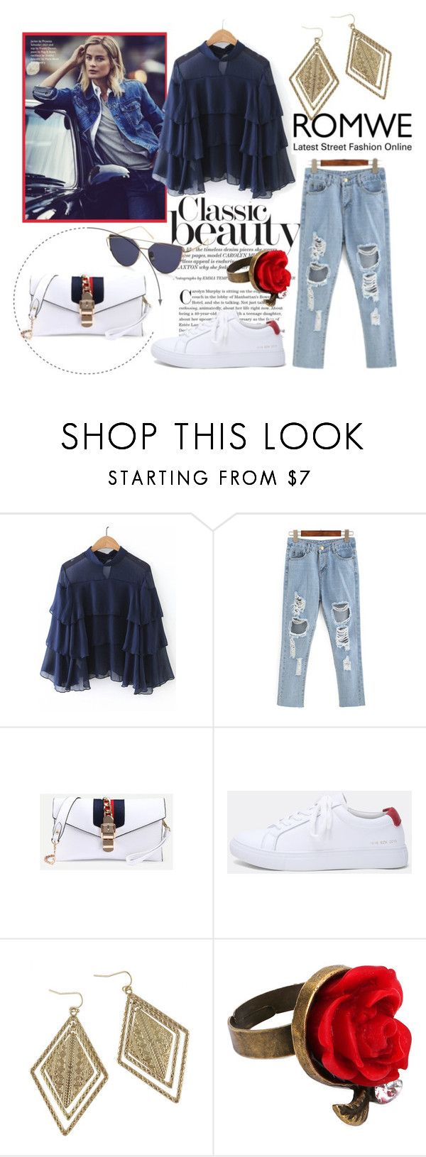"""Navy Blue Blouse"" by love-blair-serena ❤ liked on Polyvore"