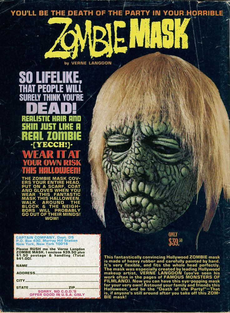 'Zombie Mask, So LIFELIKE, That People Will Surely Think You're DEAD!' - 1972 Verne Langdon Zombie mask created for Captain Company