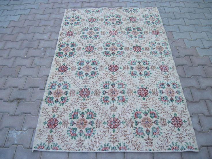 Turkish Rug 4.0x6.5 Feet 198x133 Cm Turkish Gray Rug Handmade Gray Rug Oushak Gray Rug Vintage Gray Rug Turkish Carpet Rug Gray Carpet Rug by Ebrarshops on Etsy