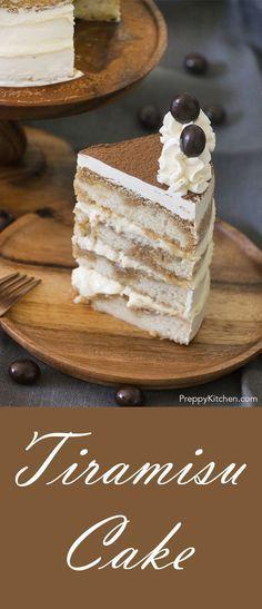 Tiramisu cake made with Mascarpone filling and topped with Swiss Buttercream flavored with Brandy | Italian desserts, classic tiramisu recipe, easy desserts, how to make tiramisu cake, holiday desserts