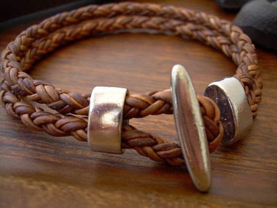 Natural Light Brown Braided Mens, Womens,  Leather Bracelet with Stainless Steel Clasp , Fathers Day Gift,  Mens Bracelet, Mens Jewelry