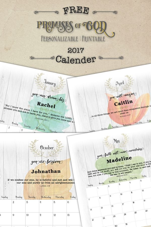 Free PRINTABLE 2017 Calendar from https://www.blessingImpressions.com Personalizable Promises of God Calendar Printable calendar, 2017 calendar, downloadable calendar, christian calendar