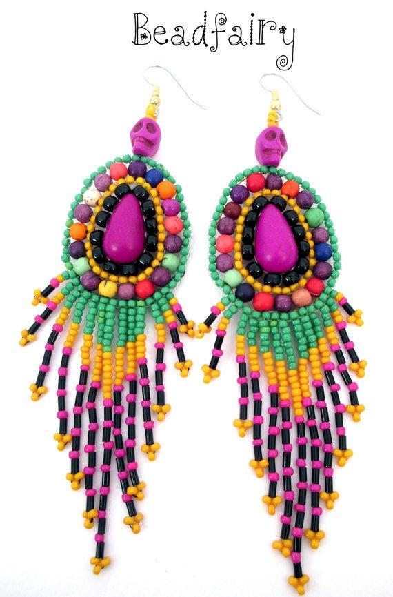 Deep Purple Earrings by BeadfairyStore on Etsy