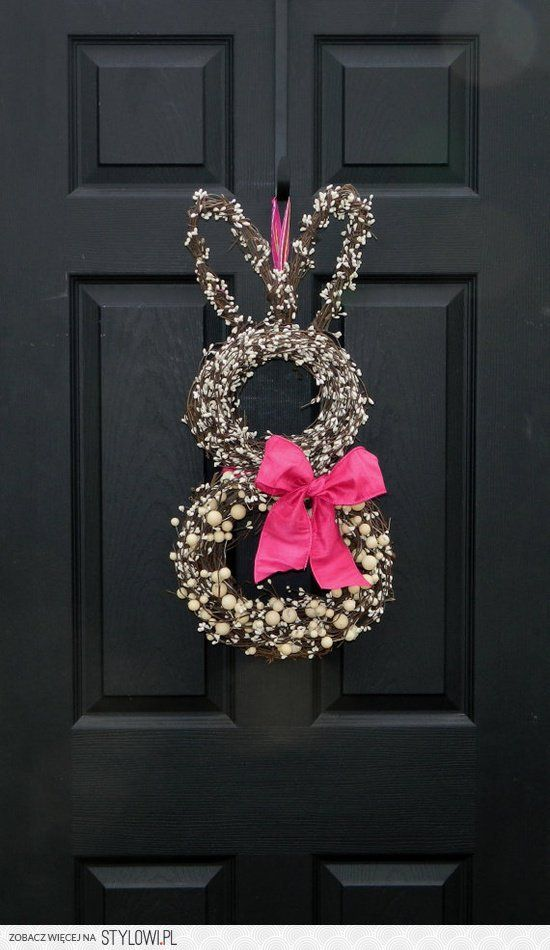 S P R I N G ; - ) / Easter bunny wreath - two round… na Stylowi.pl