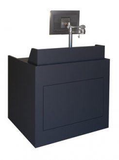 Prairie Style ADA Workstation In Storm Plastic Laminate MFI   Marshall  Furniture
