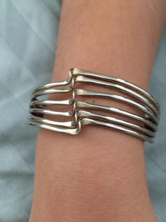 Vintage SILVER Cuff Bracelet WAVE Design by thepopularjewelry