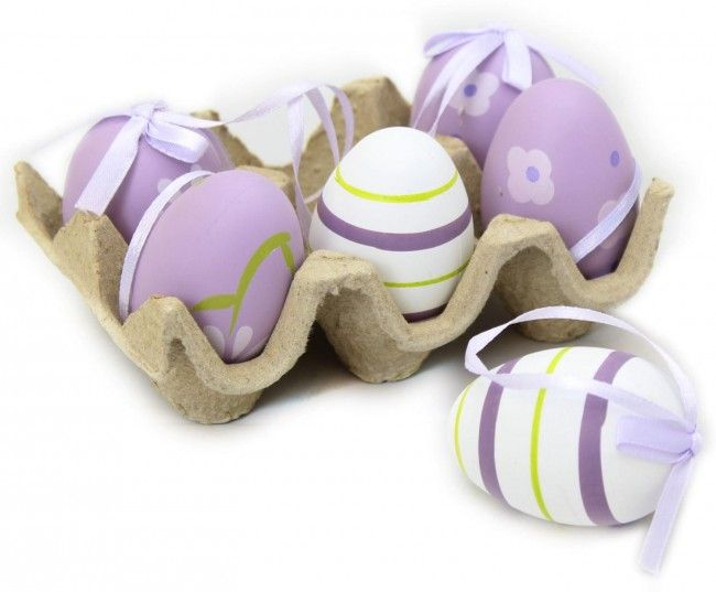 Crate Of 6 Half Dozen Hanging Easter Egg Decorations In An Egg Box ~ Purple