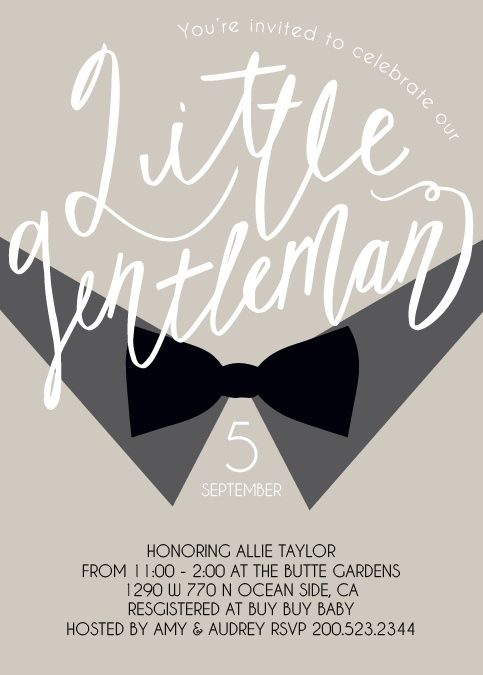 The Little Gentle Baby Shower is features a fun bow-tie and dress shirt theme, perfect for your classy little man and baby shower. Pick your colors and fonts to create a card that is uniquely yours!</p>