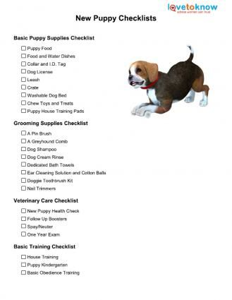 new puppy checklist...I'll need it some day