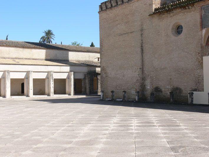 The stilly space from Centro Andaluz de Arte Contemporaneo in the Monasterio de Santa Maria de las Cuevas on the other side of Guadalquivir - Sevilla - Spain
