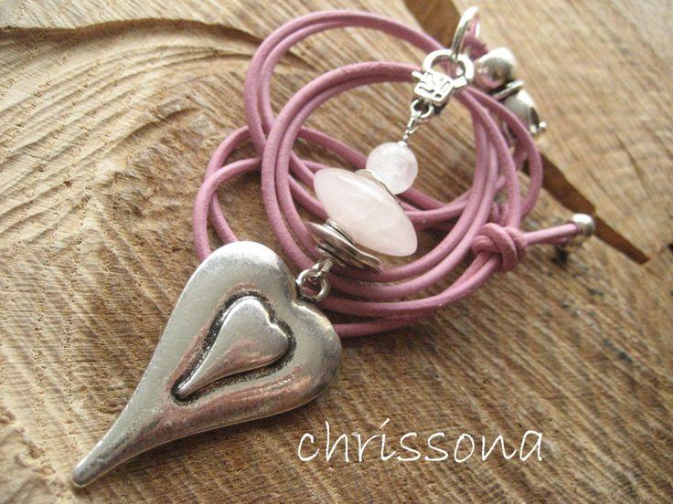 Herzkette Rosenquarz mit Lederkette von chrissona auf DaWanda.com