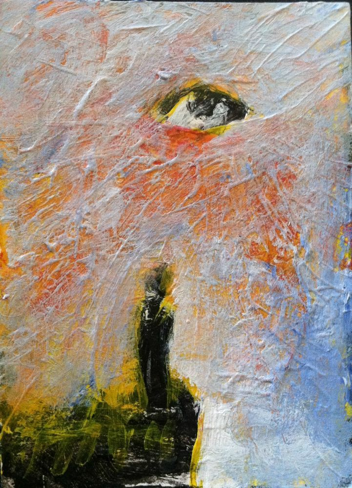 """INSIGHT,    abstract,   original art,ACEO  jack larson 3.5""""x2.5"""" #Abstract"""