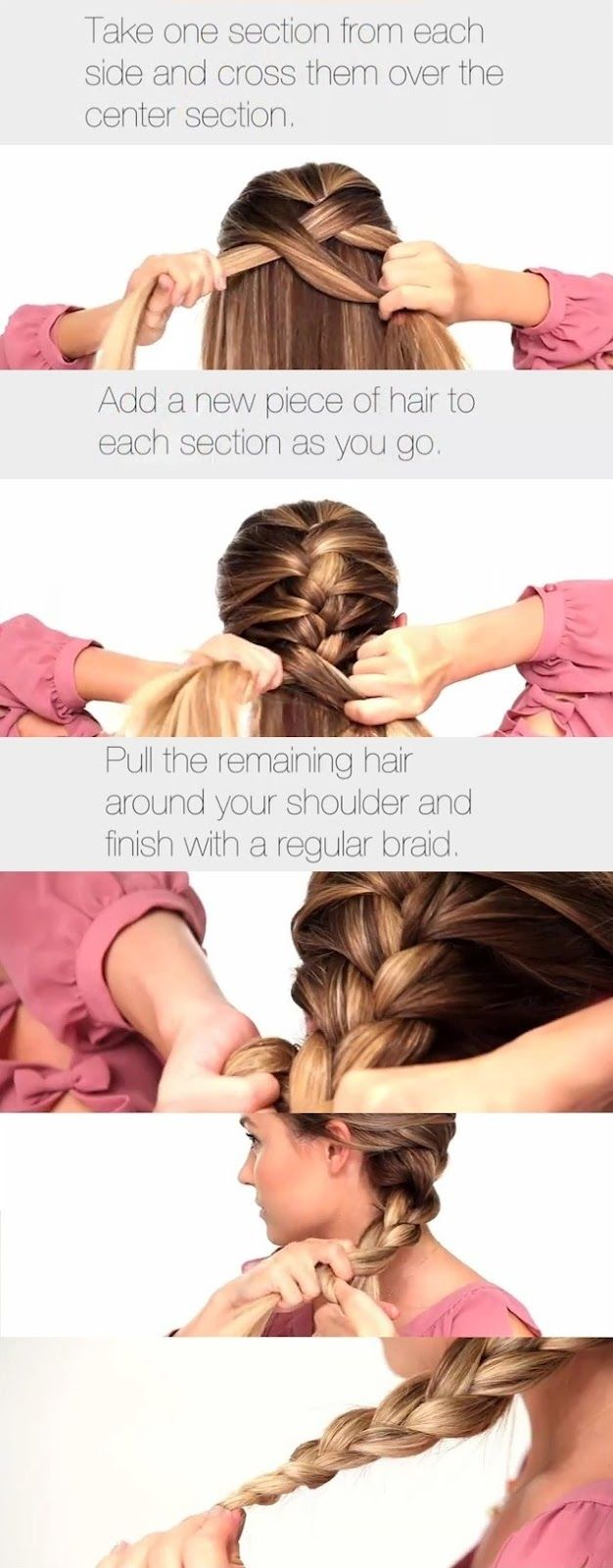 The Classic French Braid--Easier way to help you French braid your own hair!  Take one section from each side & cross them over the center section. Add a new piece of hair to each section as you go.