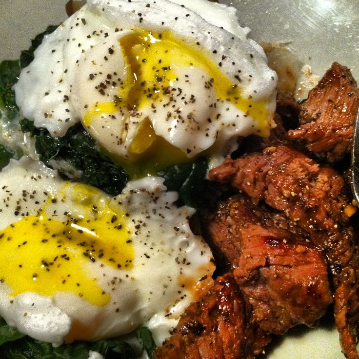 No carb meal, steak and poached eggs over kale!