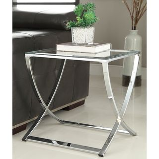 Contemporary Chrome Finish Glass Side End Table