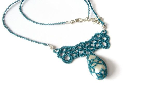 Teal tatted lace necklace with pearly teardrop by LandOfLaces, $60.00