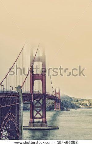 famous Golden Gate Bridge, San Francisco at night, USA - stock photo