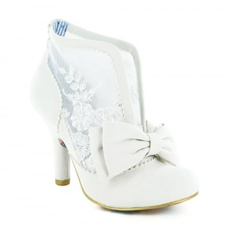 Irregular Choice Grin And Tonic 3081-33G1 Lace Wedding Ankle Boots - Off White