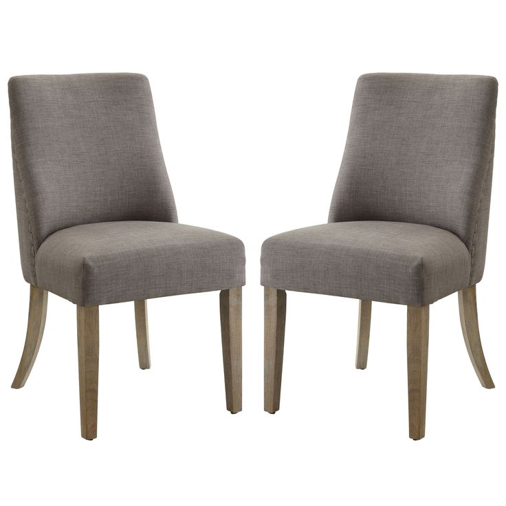 French Inspired Design Grey Upholstered Dining Chairs (Set of 2) (Set oof 2) (Fabric)
