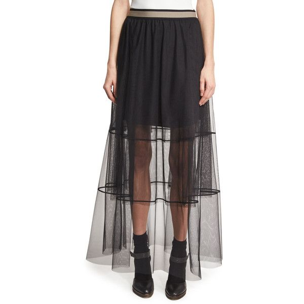 Brunello Cucinelli Sheer Tiered Tulle Maxi Skirt with Contrast Waist (4.675 RON) ❤ liked on Polyvore featuring skirts, black, floor length skirt, a line maxi skirt, long a line skirt, long tulle skirt and floor length tulle skirt