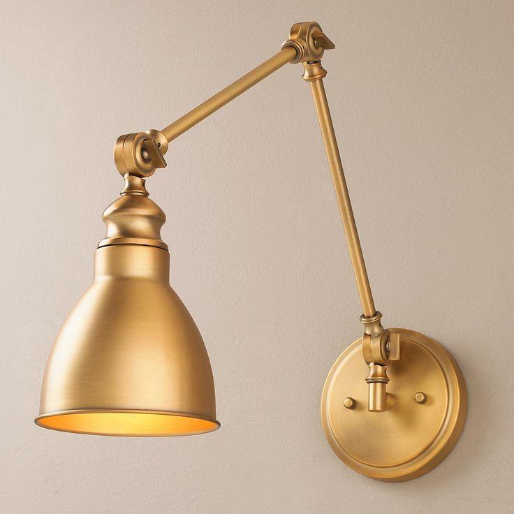warm brass sconce Adjustable Arm 1-Light Wall Sconce