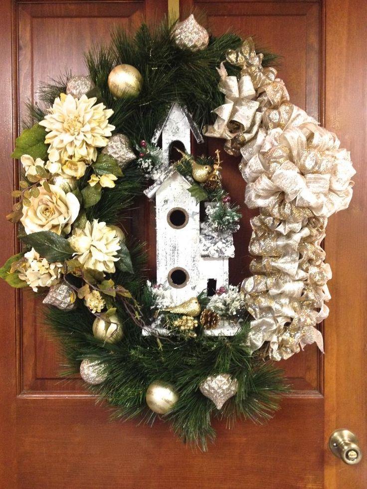 "Christmas Wreath OVAL Gold Ivory Distressed Wood Birdhouse Life Like Ivory Silk Flowers Pine Wreath XL 36""  #CUSTOMDESIGNEDHANDMADE #ChristmasWreath #HolidayWreath"