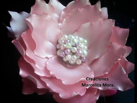 Tutorial Flor Grande  Para el Cabello, Flores Listón Raso , Manualidades la Hormiga - YouTube