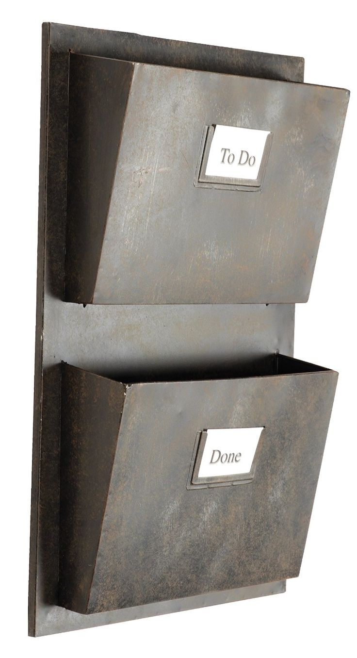 Amazon.com: Rustic Grey Metal Industrial Wall-Mounted Mail Organizers, Two Slots: Office Products