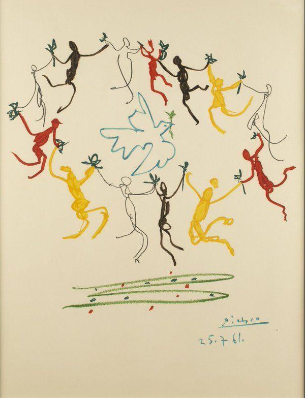 """""""La danse de la Paix"""" Dessin de Pablo Picasso 1961"""