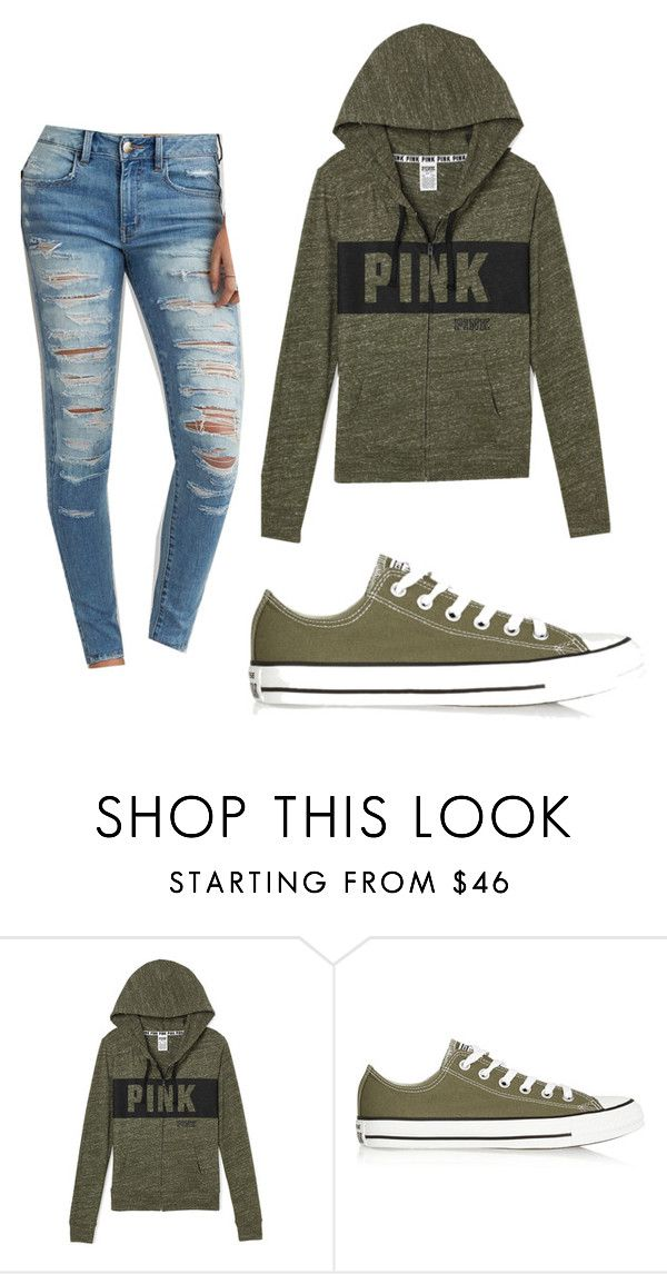 """Olive Green Outfit"" by tatum-munhall on Polyvore featuring Converse and American Eagle Outfitters"