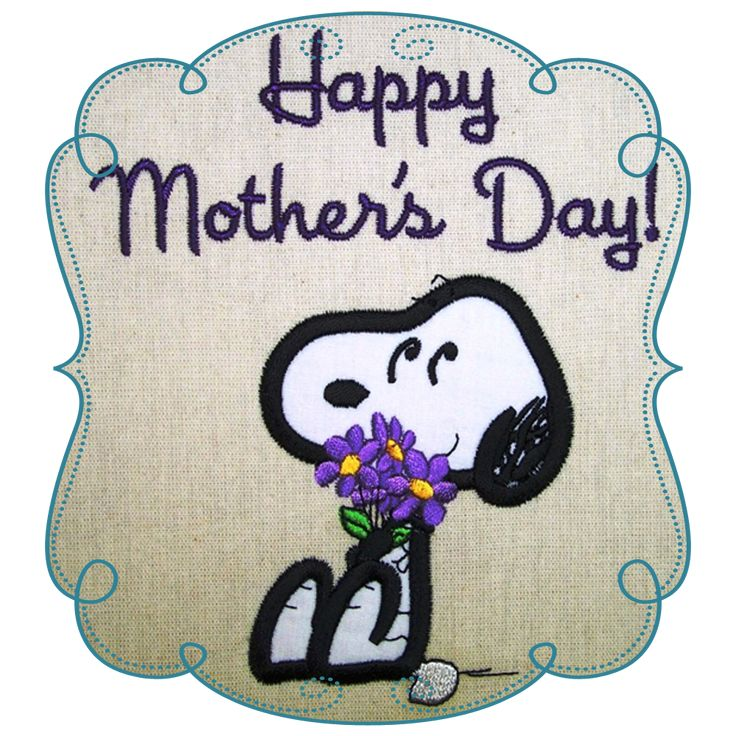 Snoopy Mothers Day Applique Machine Embroidery Design Pattern-INSTANT DOWNLOAD