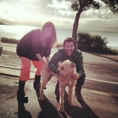 Aidan with Dean's girlfriend Sarah Wilson and Batman <<--awwwwww can't even <<<< so much unbearable cute!!