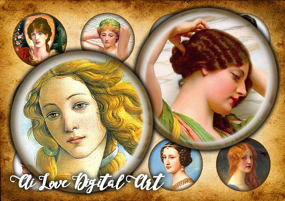 Classic Beauty digital collage sheet 1.5 inch 1 inch circle #1inchbottlecapimages #digitaldownloadsprintables #digitalcollagesheets
