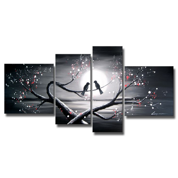 This gallery-wrapped canvas art will bring life to any wall. The four-piece hand-painted design has a contemporary look that will make it the focal point of any room. It contains pink, gray, and red tones, and it is perfect for romantic settings.