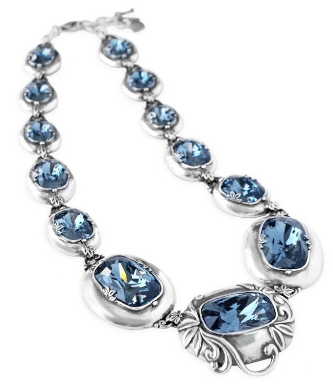 Couture necklace featuring spellbinding cushion cut denim blue Swarovski crystals